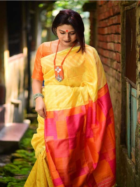 Floral Look Yellow Color Linen silk weaving saree with all over silver zari woven