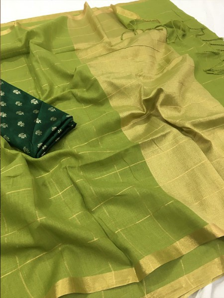 Unique Style Green Color Pure Linen Saree with different beautiful designs