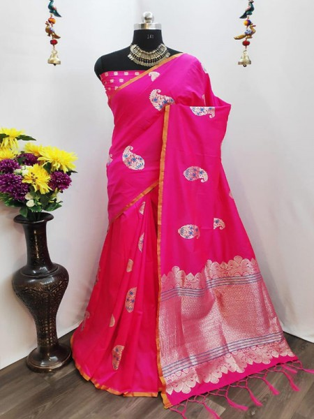 Rich Look Pink Colour Cotton Silk Saree With Heavy Weaving Blouse