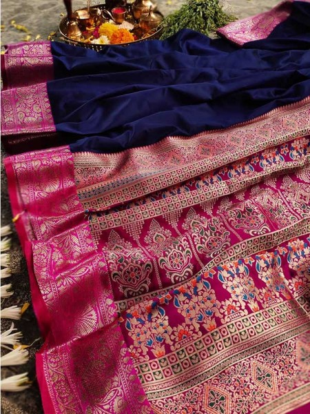 Finnest Look Blue Color Pure Banarasi Silk with lovely texture