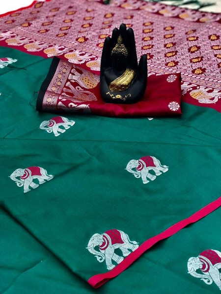 Green Color Lichi Silk Saree with Weaving in Elephant Design