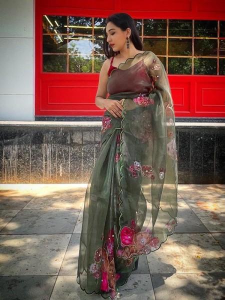 Celebrity Style Organza Printed Saree with fully handwork & cutwork border