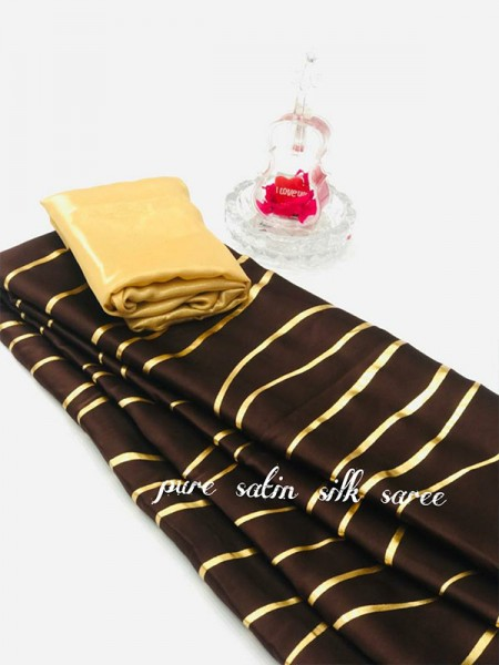 Classic Look Brown Color Pure Satin Silk With Floral Print Saree