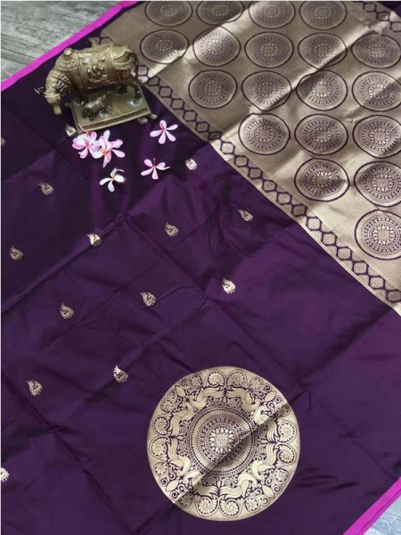 Stunning Look Purple Color Banarsi Silk Fabric Saree