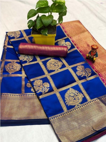 Pretty Look Blue Color Banarasi Silk Fabric with Zari work Kanchipuram Saree