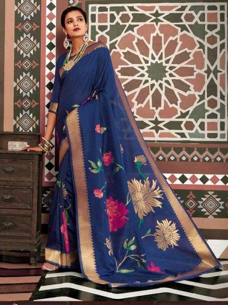 Wedding Designer Blue Color pure silk weaving Saree with excellent soft texture