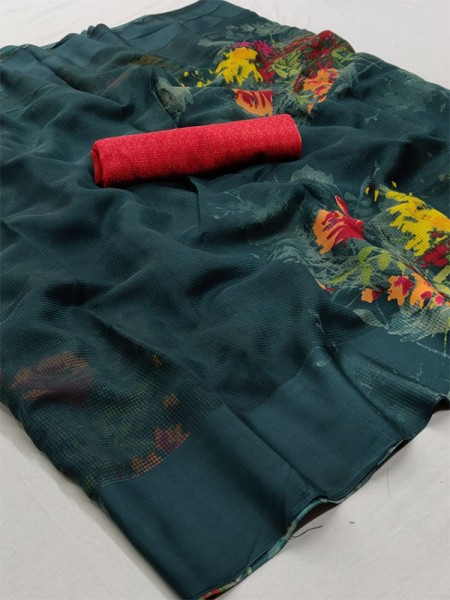 Stunning Green Color Soft Linen Silk Fabric Printed Saree