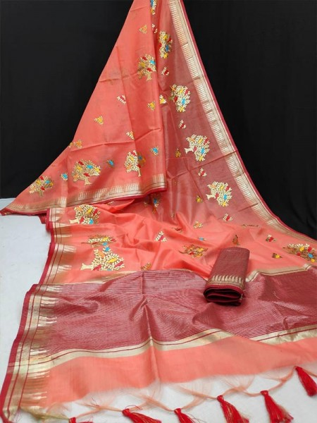Latest Modern Look Multi Color Linen silk Saree with all over Embroidered work