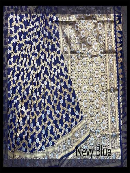 Festival Look Blue color Pure Jacquard Resham zari work Saree