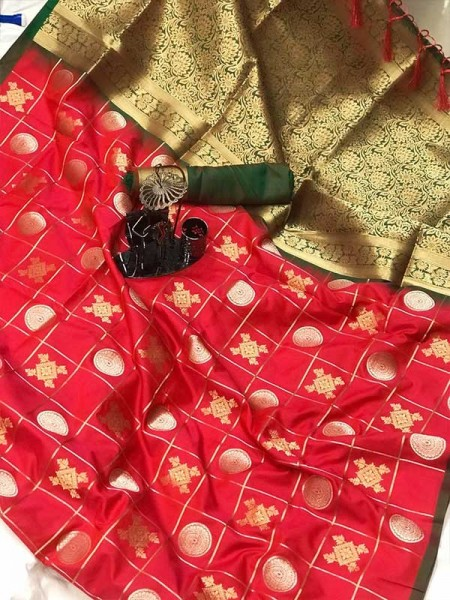 Stylish Look Pink Colour Soft Silk with silver & gold zari weaving work saree