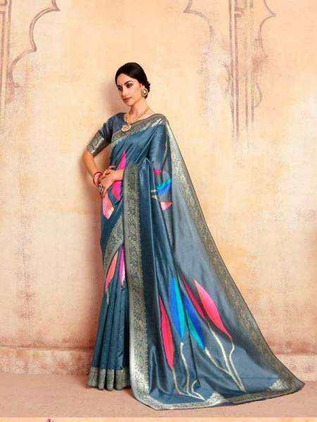 Bollywood Look Multi Color Krystal Silk with Rich Pallu Design Saree