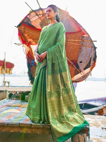 Festival Style Green  Color Self Satin Handloom Weaving Saree