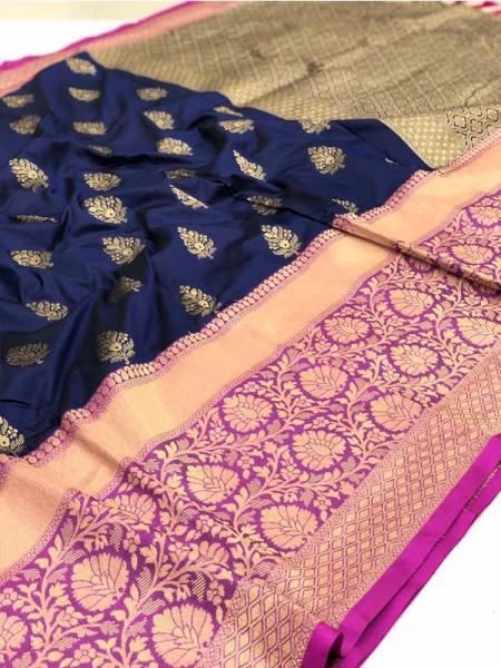 Ethnic Kancipuram Silk Saree with  Kanchi border and pallu are precisely hand woven