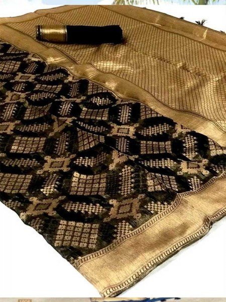 Stunning Black Color Banarasi Cotton Saree