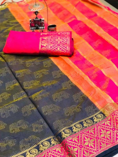 Stunning Black Color Soft Cotton Silk Saree with weaving