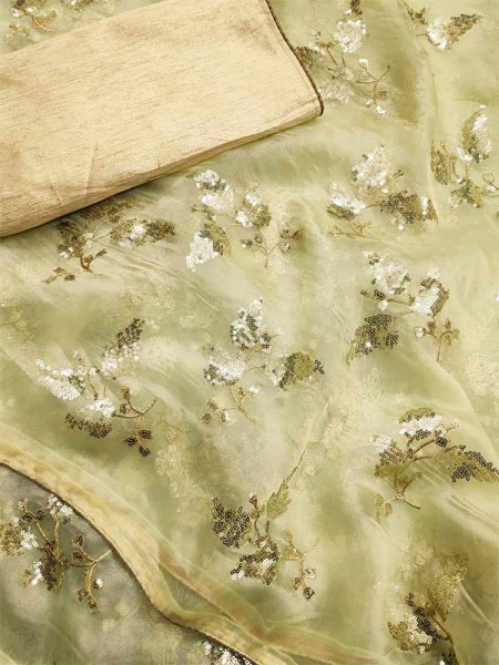 Trending Green Colored Pure Organza With Sequence Work In Saree