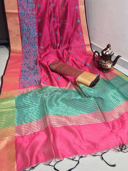 Graceful Look Pink Color Crystal Silk Saree with Embroidered work