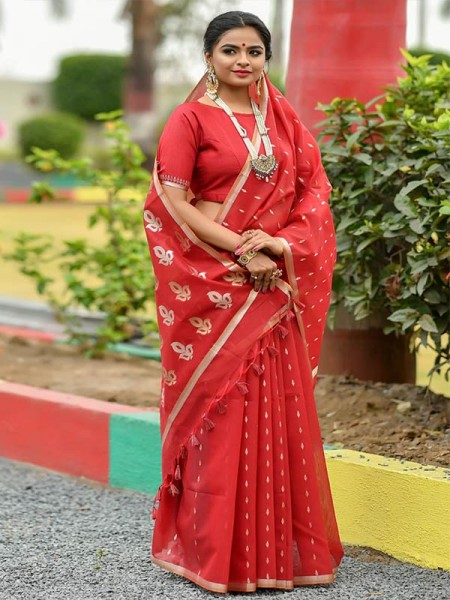 Wedding Look Red Color Linen Silk Saree with Gold Zari weaving all over