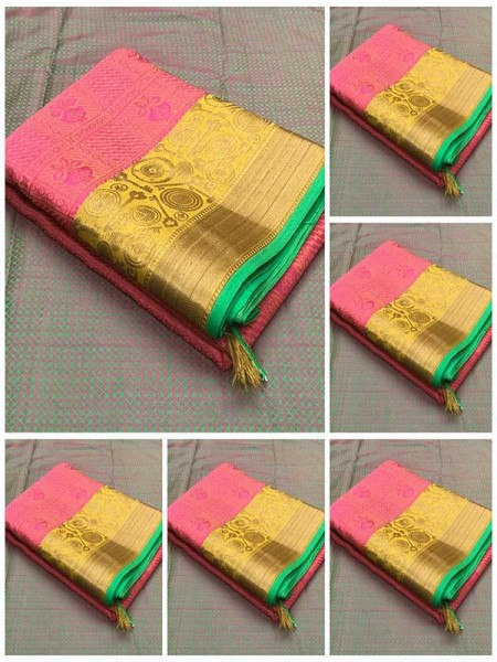 Beautiful Pink Color Pure Kora muslin Silk weaving with Rich pallu Branded Saree