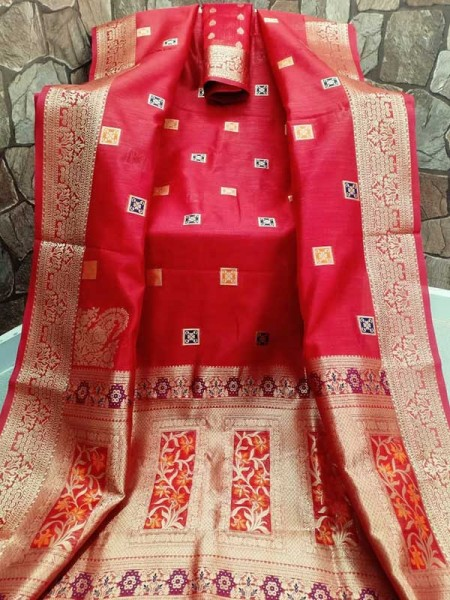 Stunning Red Color Cotton Silk Saree Full Weaving Work