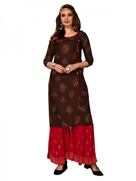 Trending Brown Colour Heavy Foil Print Top with Matching Sharara