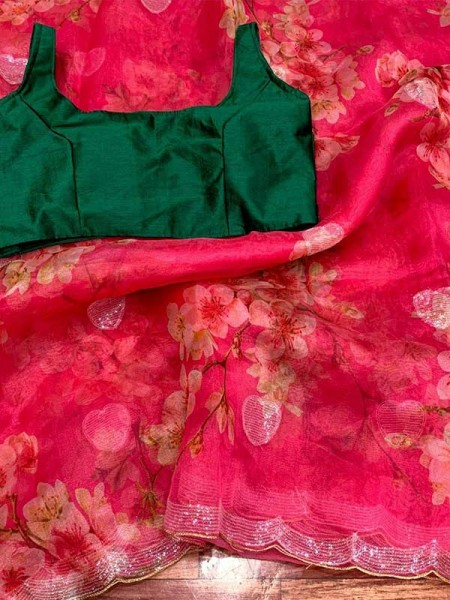 Classic Look Pure soft organza saree with beautiful floral prints nd fancy 3mm sequence