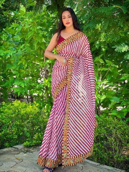Lehriya Style Georgett Silk Saree with jal & border of matching thread work