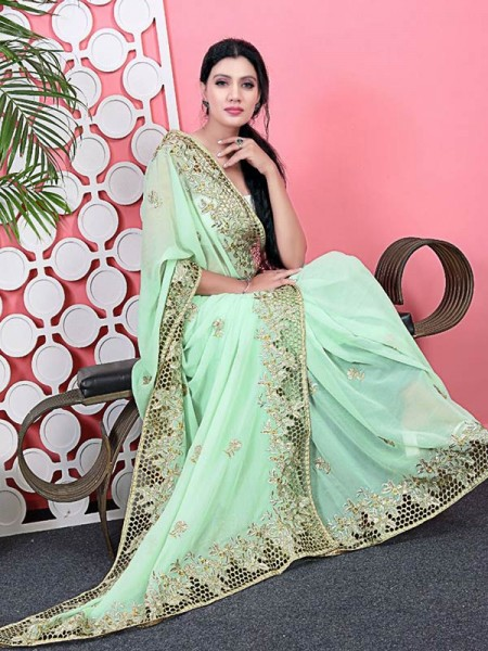 Graceful Georgette Saree with embroidery work Rich pallu & border having effect of jaal design