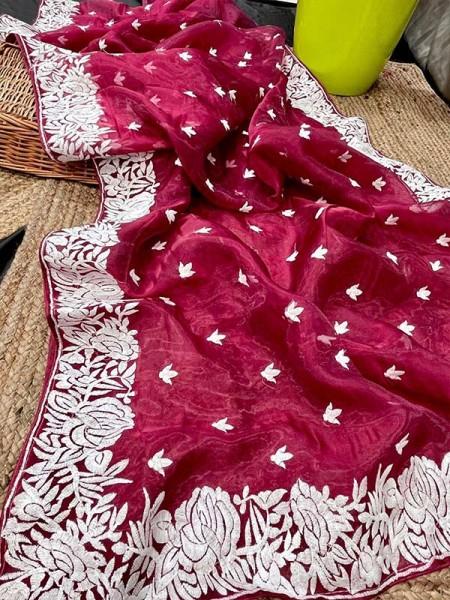Latest Designer Organza Chikankari embroidery work Saree