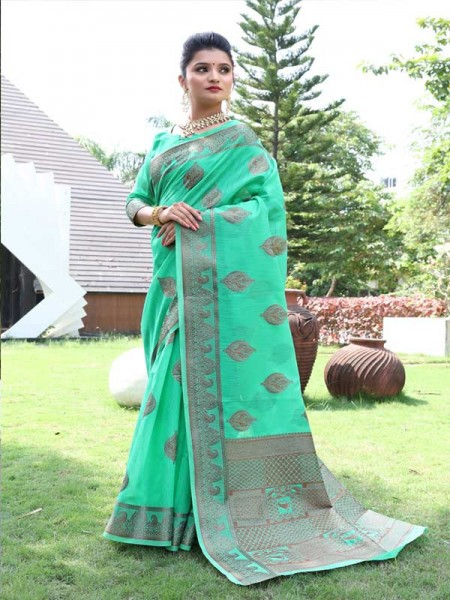 New Trending SkyBlue Colour Cotton Linen Saree including Blouses with weaving