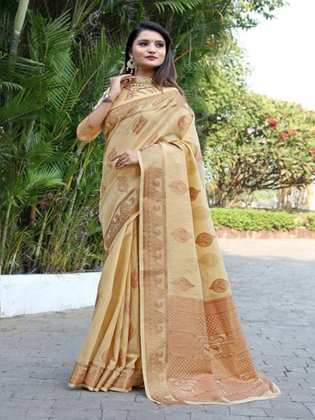 New Trending Multi Colour Cotton Linen Saree including Blouses with weaving