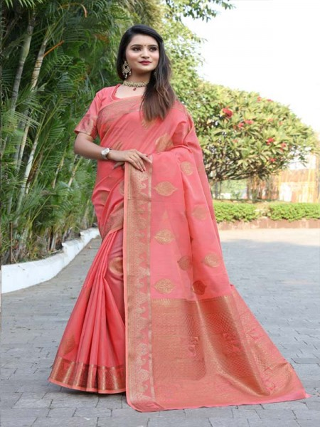 New Trending Peach Colour Cotton Linen Saree including Blouses with weaving