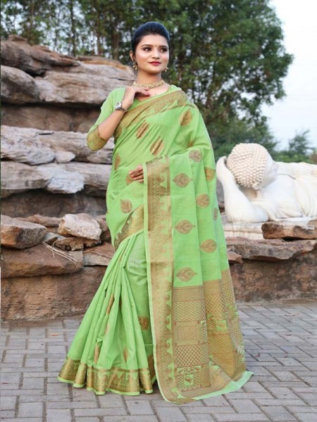 New Trending Green Colour Cotton Linen Saree including Blouses with weaving