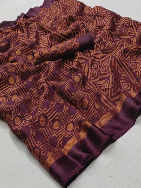 Maroon Colored Beautiful Soft Brasso Silk Fancy Saree
