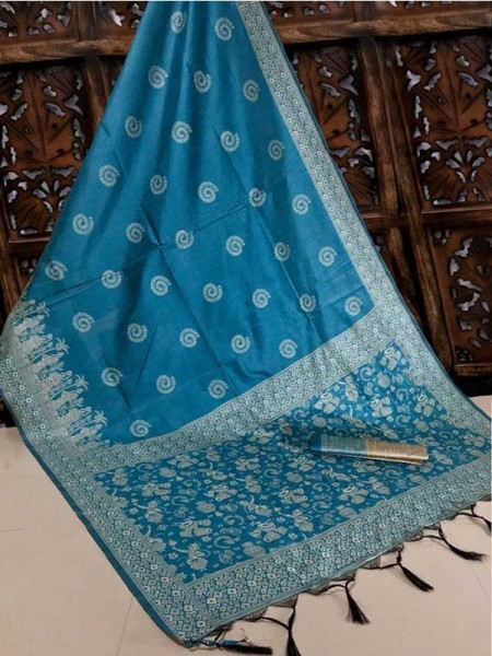 New Eye Catcher SkyBlue Color Handloom Raw Silk Saree With  Weaves Saree