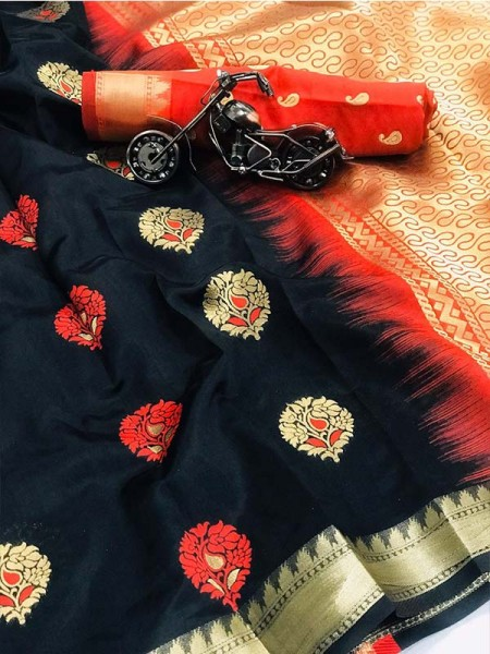 Black Color Lichi Silk Saree With Zari Weaving Butta on Saree