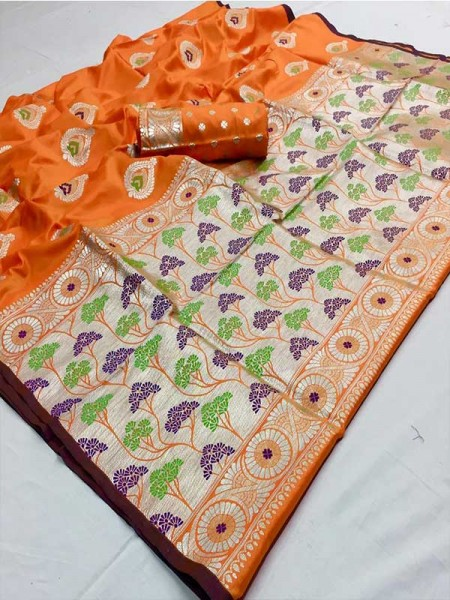 Latest Traditional Look Orange Color Soft Silk Weaving Saree