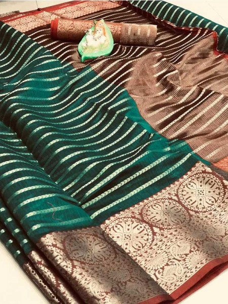 Elegance Look Green Colored Soft Cotton Weaving Saree