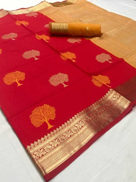 Latest Traditional Look Red Color Soft Silk Weaving Saree