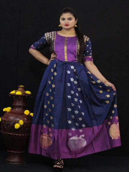 Summer Special Blue color Soft Silk Kanchipuram Style Kurti