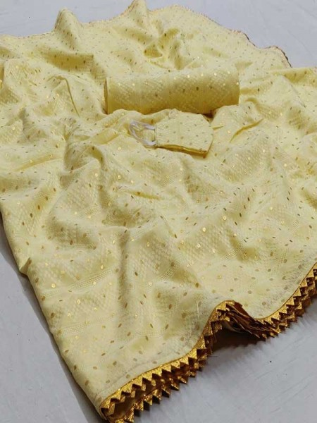 New Eye Catcher Yellow Color Silk Zari Lace Border Saree