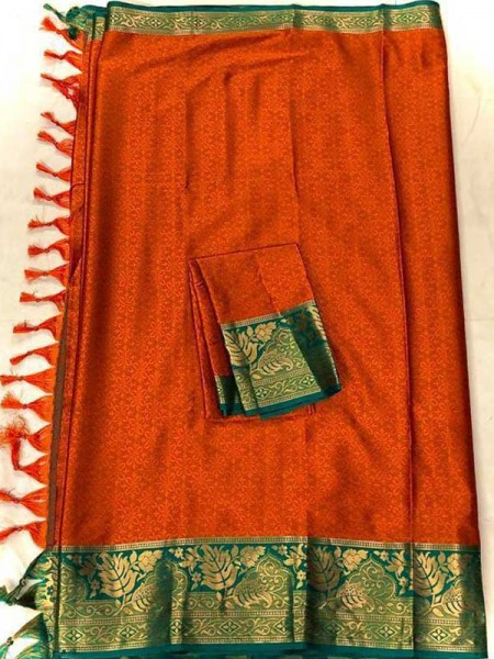 New Trending Red  Color Cotton Silk Saree