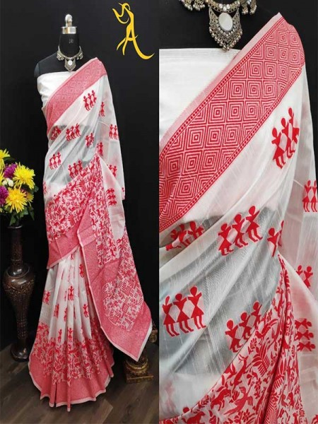 White Red  Traditional Colour Soft Linen Cotton Saree