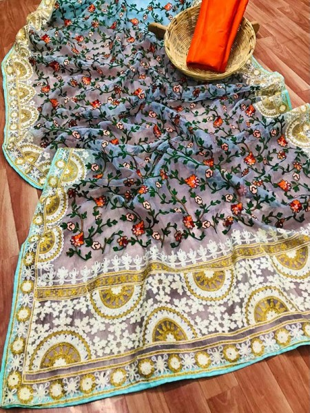 Unique Style Organza Silk Saree with embroidery work & shining stone