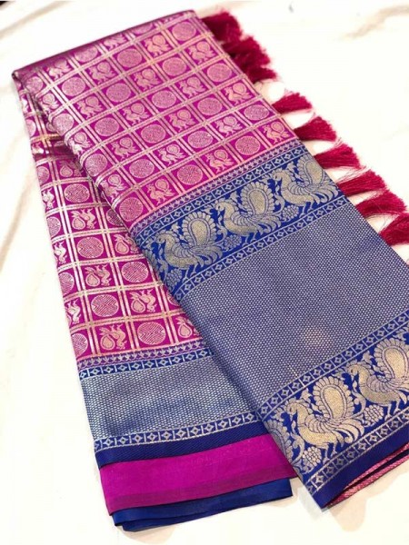 Attractive Look Rich And Premium Quality  Kanchipuram Silk Saree With Golden Pure Zari Embellishes The Beauties