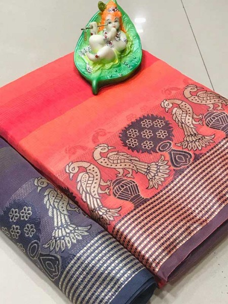 Elegance Look Pink Colour Cotton Saree with weaving border