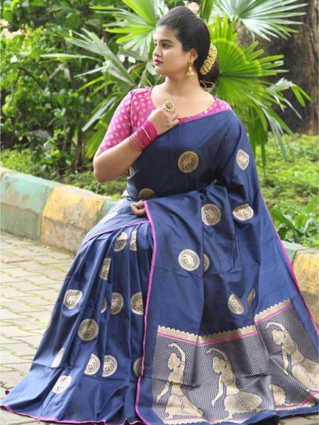 Latest Traditional Look Blue  Color Soft Banarasi Silk Rich Pallu With Checks And Peacock Butta And Full Saree Peacock Butta Saree