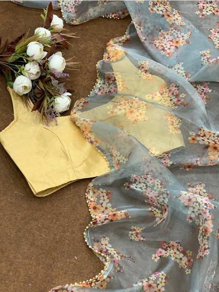 Pure Soft Organza Saree With Beautiful Floral Print Nd Heavy Fancy Golden Lace Border
