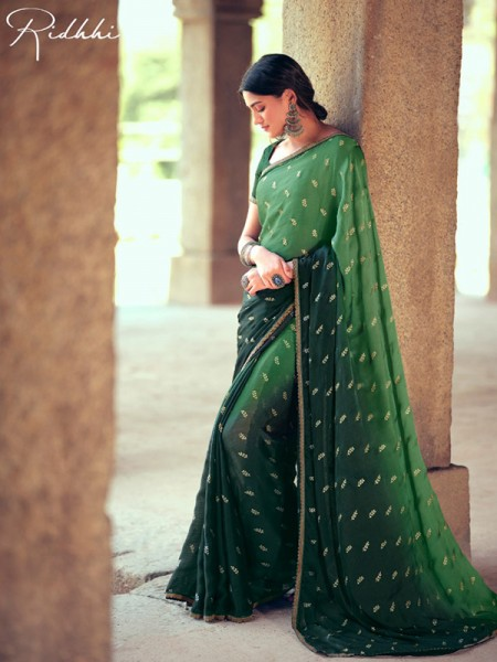 Finnest Look Chiffon Printed Saree with Cut work Lace