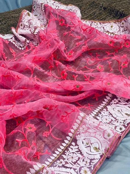 Latest Designer Organza Silk Saree with jall work in body and border of chikankari work